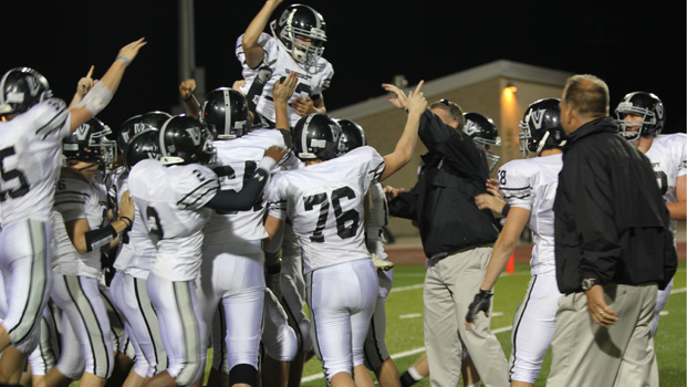 The team celebrates Brett Koster's game winning 16-yard field goal.