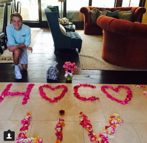 """Freshman Peyton Ausley asked sophomore Olivia Lukas """"I thought it was super cute and clever, I was really surprised that he came up with it himself."""" Lukas said"""