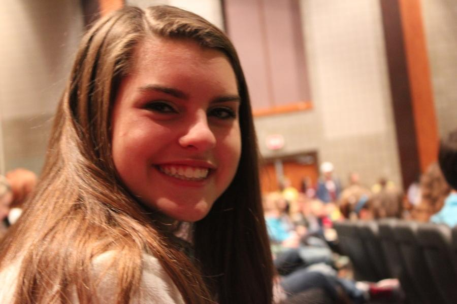 Freshman, Rachel Honts, is all smiles as she sits among 700 of Leander ISD's C2 students.