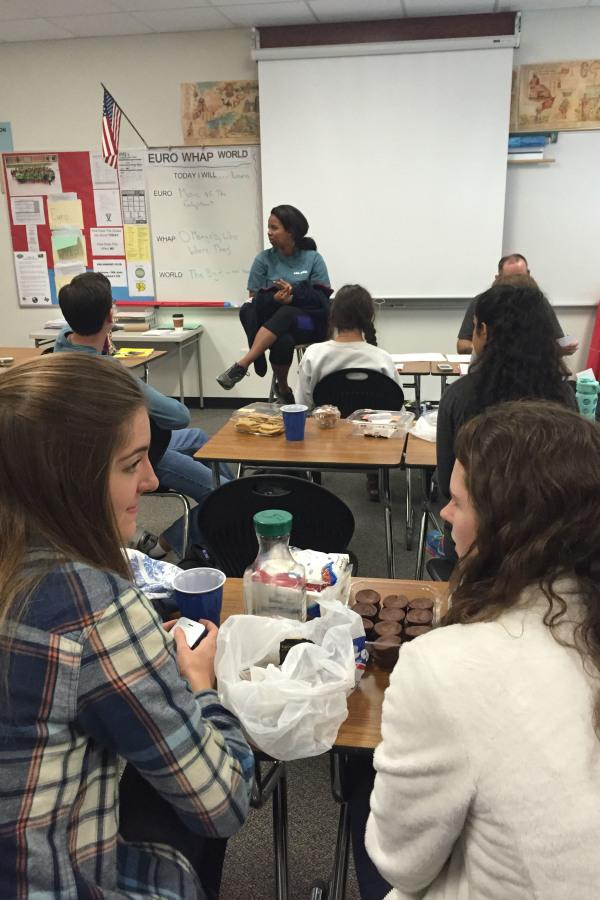 Sessen Stephanos leads the discussion in philosophy club
