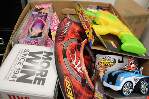Student-donated toys and games for the VHS Toys for Tots program.