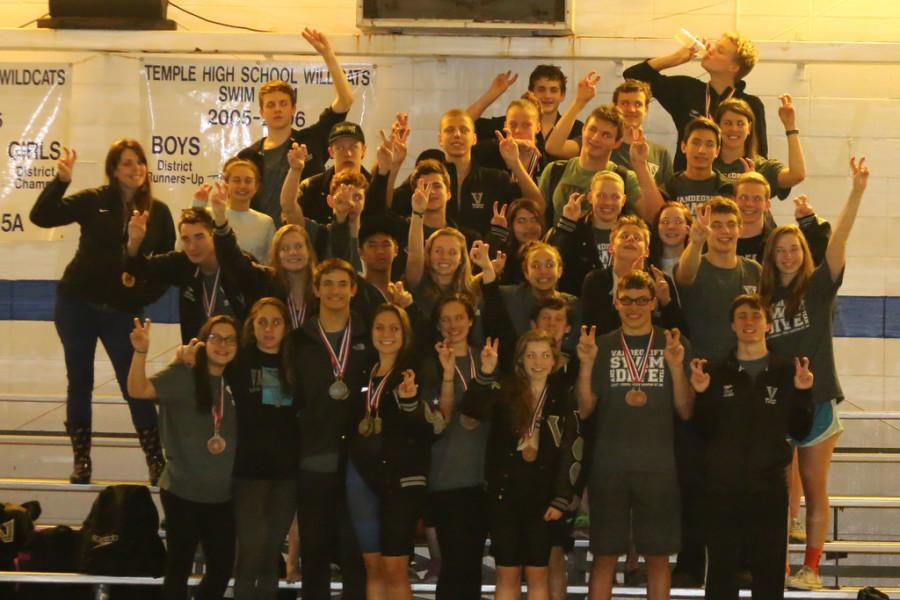 Viper swim team celebrates winning districts for the 3rd time