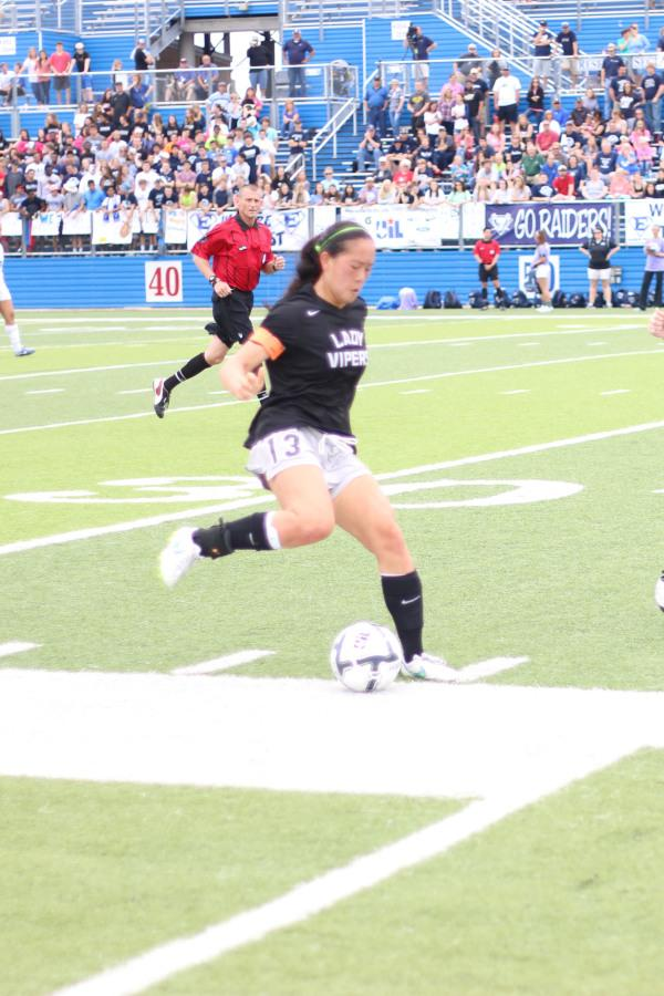 Paige Welch steals the ball from the opposing team in the State semi-finals