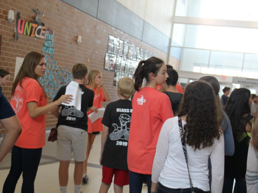 Senior Hanna Brown guides incoming freshman through the halls