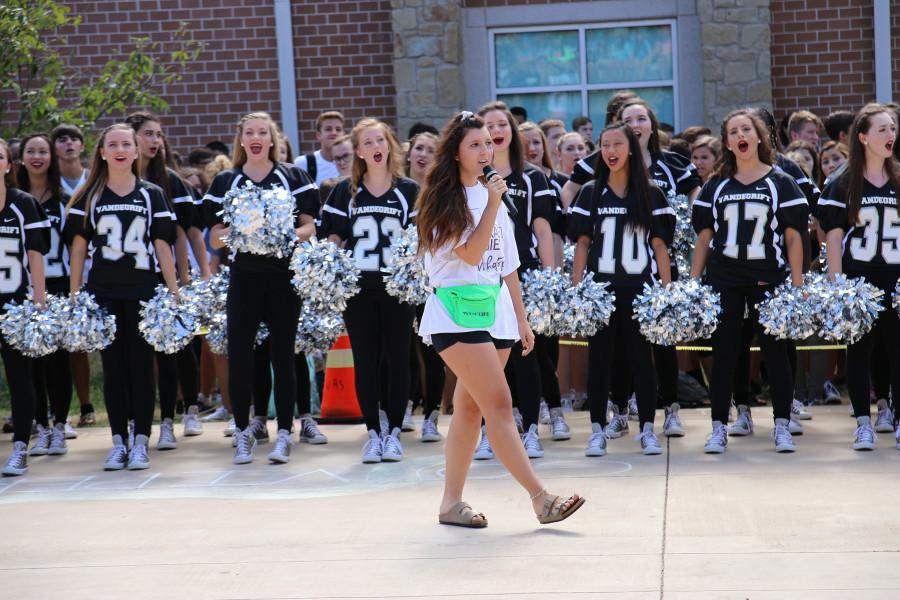 Senior Emma Spasaro leads one of the first pep rallies of the year.
