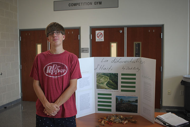 Senior Zach Burky and his project on Haitian Deforestation.