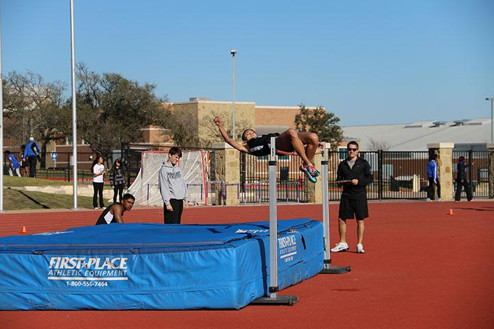 Freshman Kyla Peeples competing in the high jump.