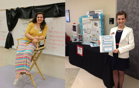 (left) FPMS Director Maria Taylor sits in front of her classroom before her students arrive. (right) Taylor presents her Ready, Set, Teach board to the school board during her senior year at VHS.