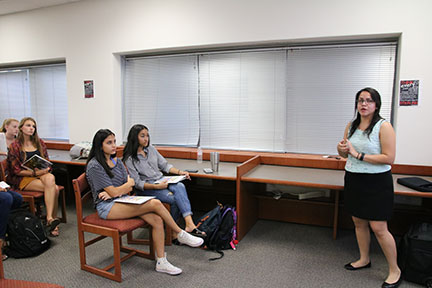 University representatives visit with upperclassmen