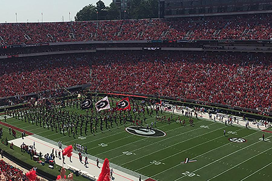 Georgia football runs out of the tunnel for their game against Nicholls State. They won the game 26-24.