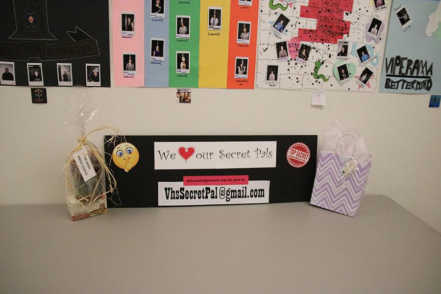 Gifts are left on the PTSA Secret Pal Table at the front office near the teacher boxes.