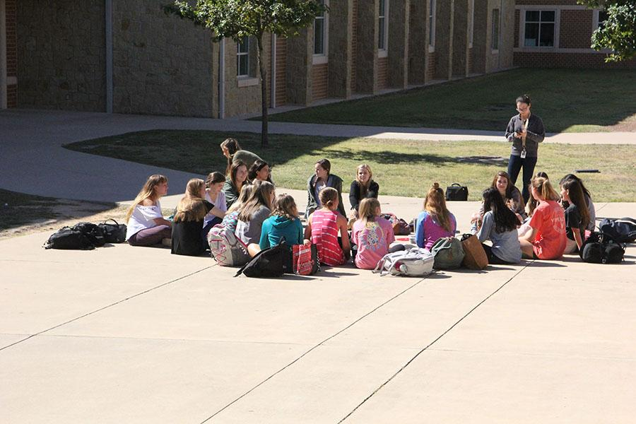 The Sunshine Sisters Club meeting outside on a Friday.