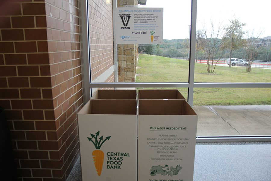 Donation bins at the entrance of building one