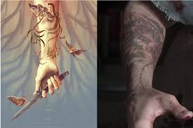 The left is a limited edition poster released in September, and the right is Ellie's tattoo in the trailer for the second game.