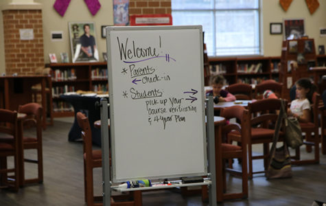 Freshmen meet with parents during student led conferences
