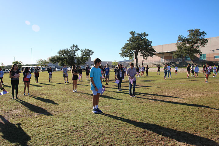 Freshman English classes participate in privilege walk activity