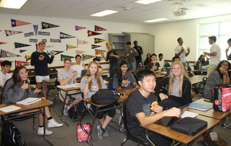 Students celebrate red ribbon week with doughnut party