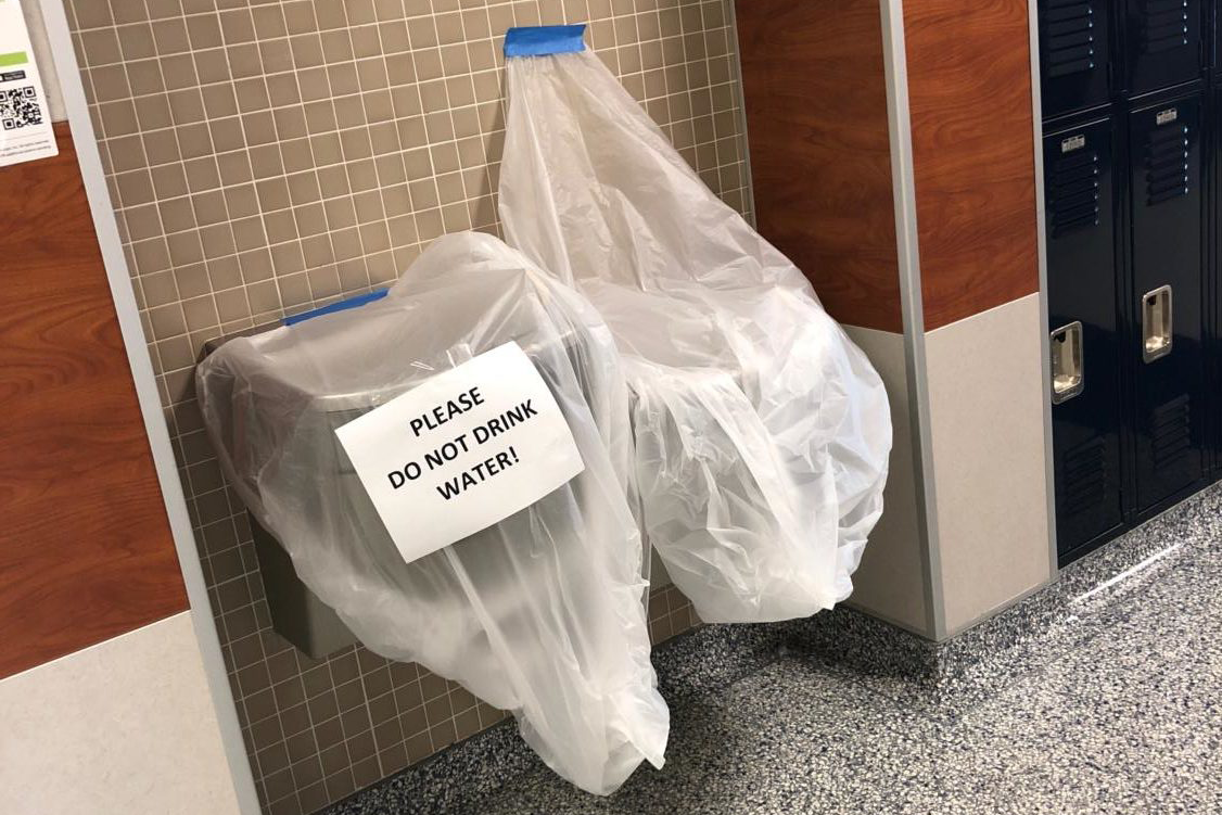 Water fountains on campus were covered for six days.