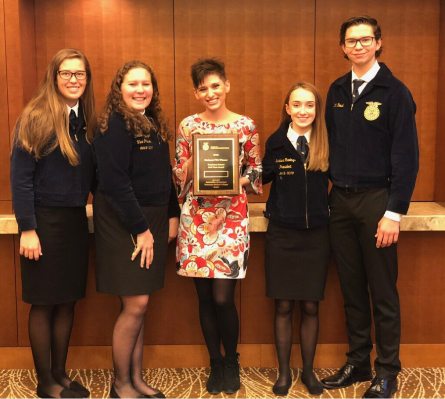 (From left to right) Lauren Stevens, Camille Barkhuizen, adviser Magan Escamilla, Madeline Rawlings and Zach Roush, the team who placed eighth at nationals.