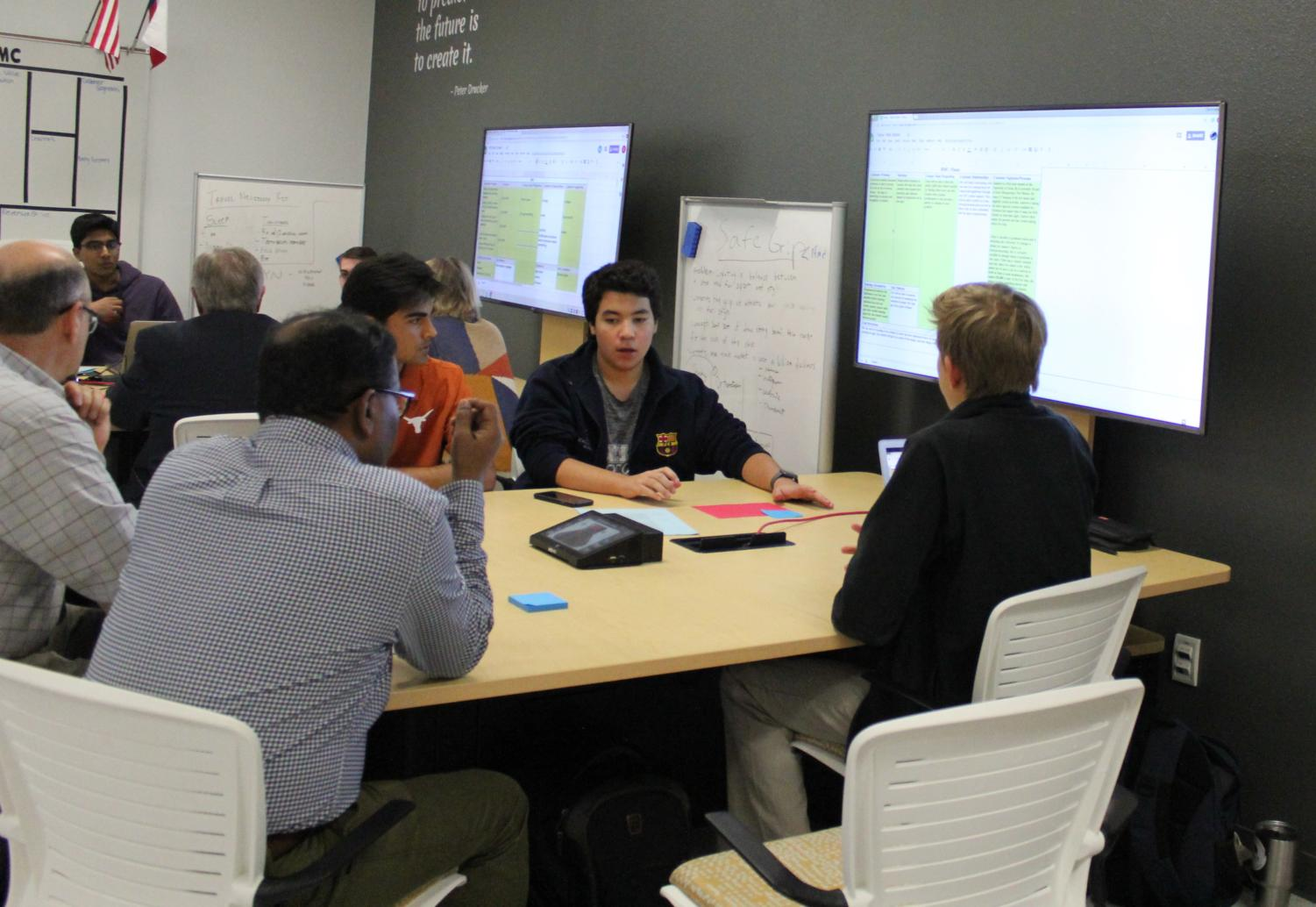 Students pitch their business ideas to local entrepreneurs.