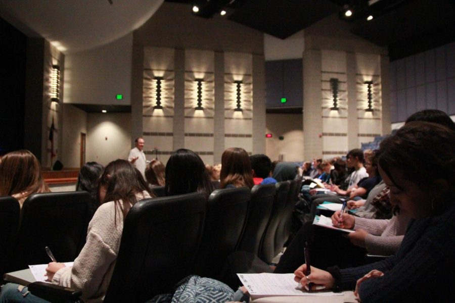 World Geography Students listen to University of Texas research scientist Brent Porter discuss the importance of Geographic Information Systems during Geography Awareness Week on Nov. 14.
