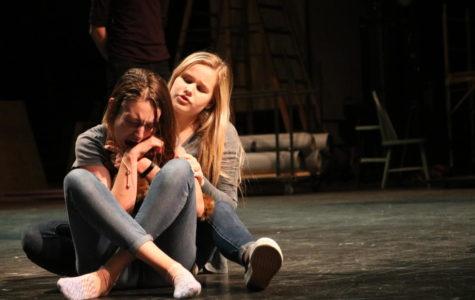 Actors Alex Fletcher and Lily Whitehurst rehearse an emotional scene