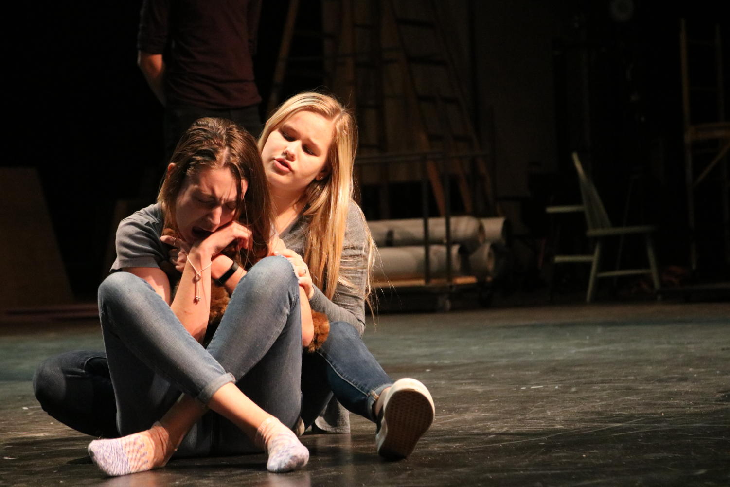 Actors Alex Fletcher and Lily Whitehurst rehearse an emotional scene