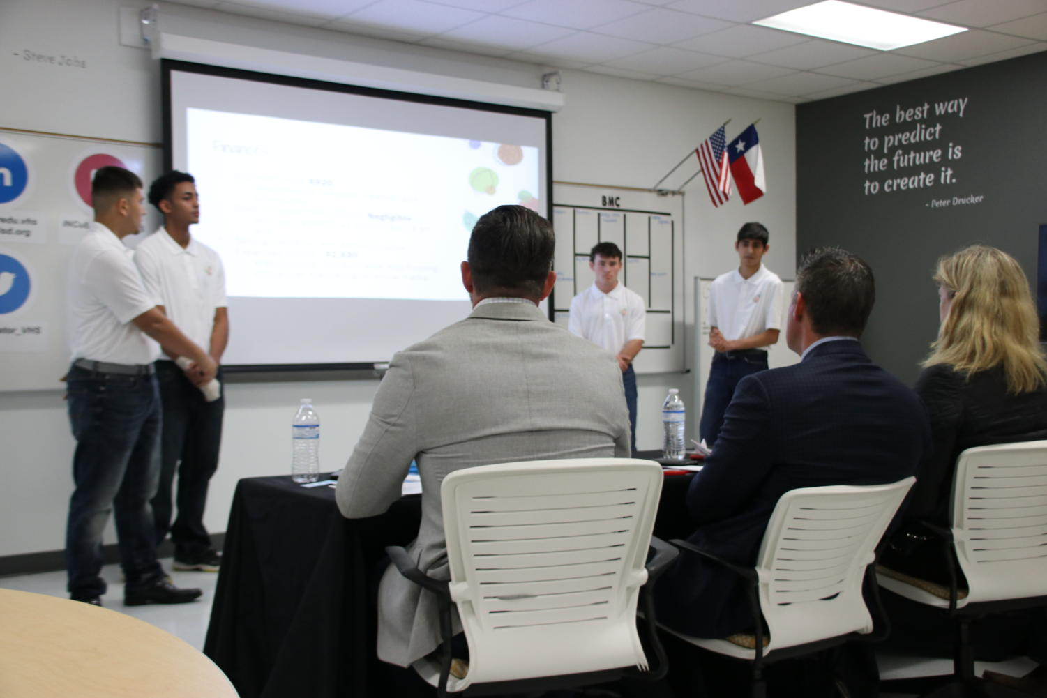 Christian Montelogue, Fariss Awad, Grant Shaffer and Omar Azad pitched their MVP to panel of judges.