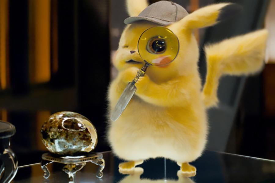 Pikachu (Reynolds) investigates a clue in the film