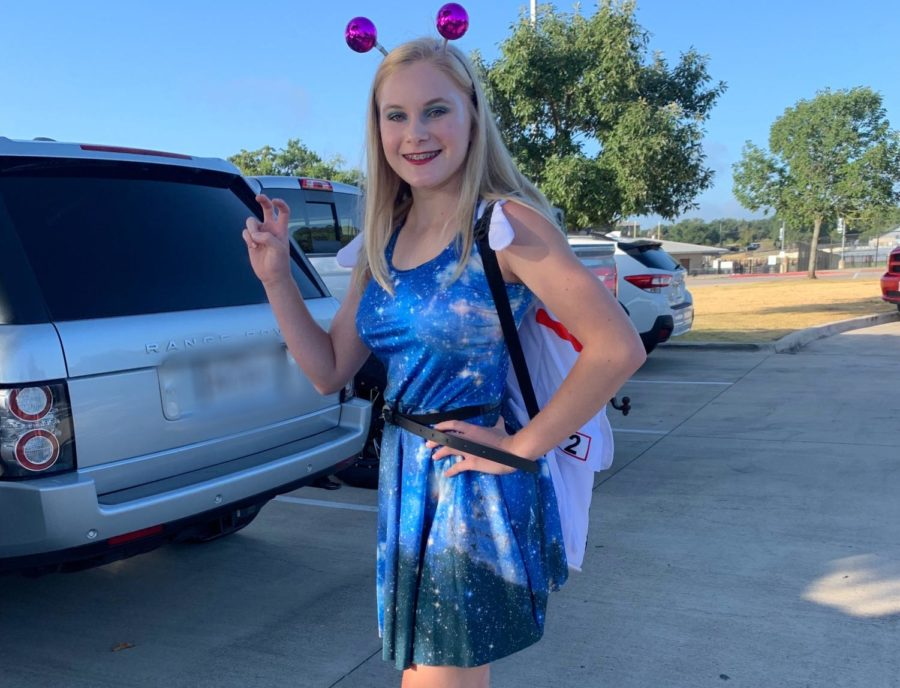 Senior Hannah Broadhead dresses up for the Space Day theme.