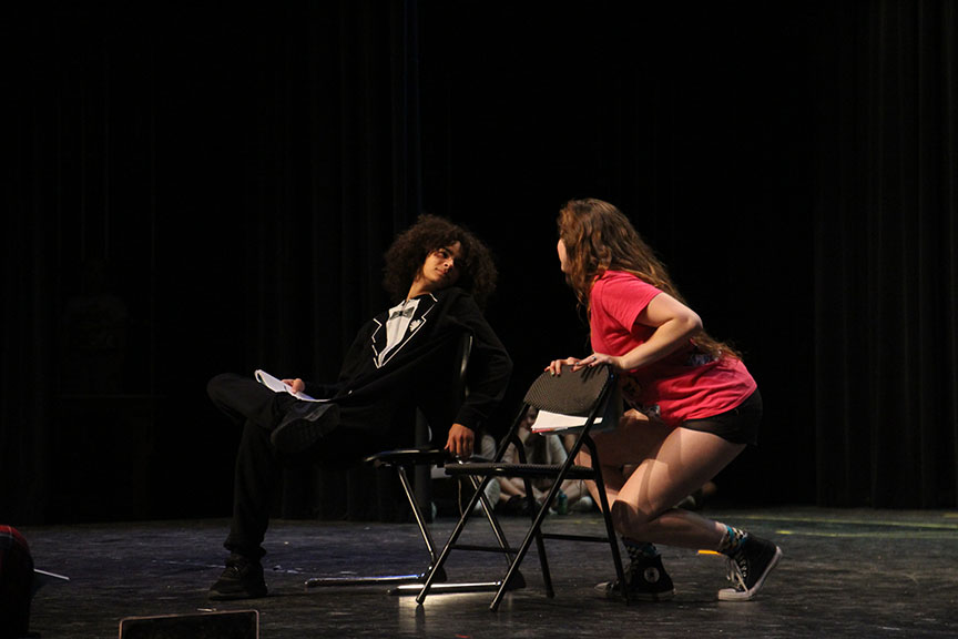 "Devon Schaffner (Pepper) gazes into Collier's eyes (left to right) during the comedic performance of ""Does Your Mother Know?"" Devon Schaffner is the son of the show's choreographer Dion Schaffner."