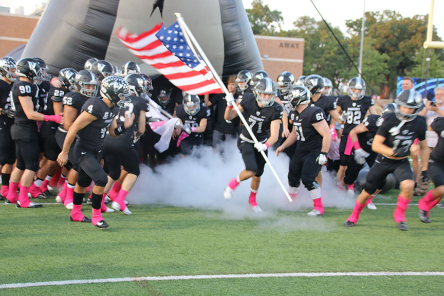 Vipers run out of the tunnel with the American flag before every game as a tradition.