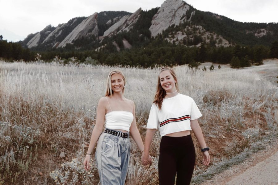 Jenna Rigney (right) and Priscilla Leafblad (left) pose in Colorado on Sept. 20 while filming a practice video for the fall update.