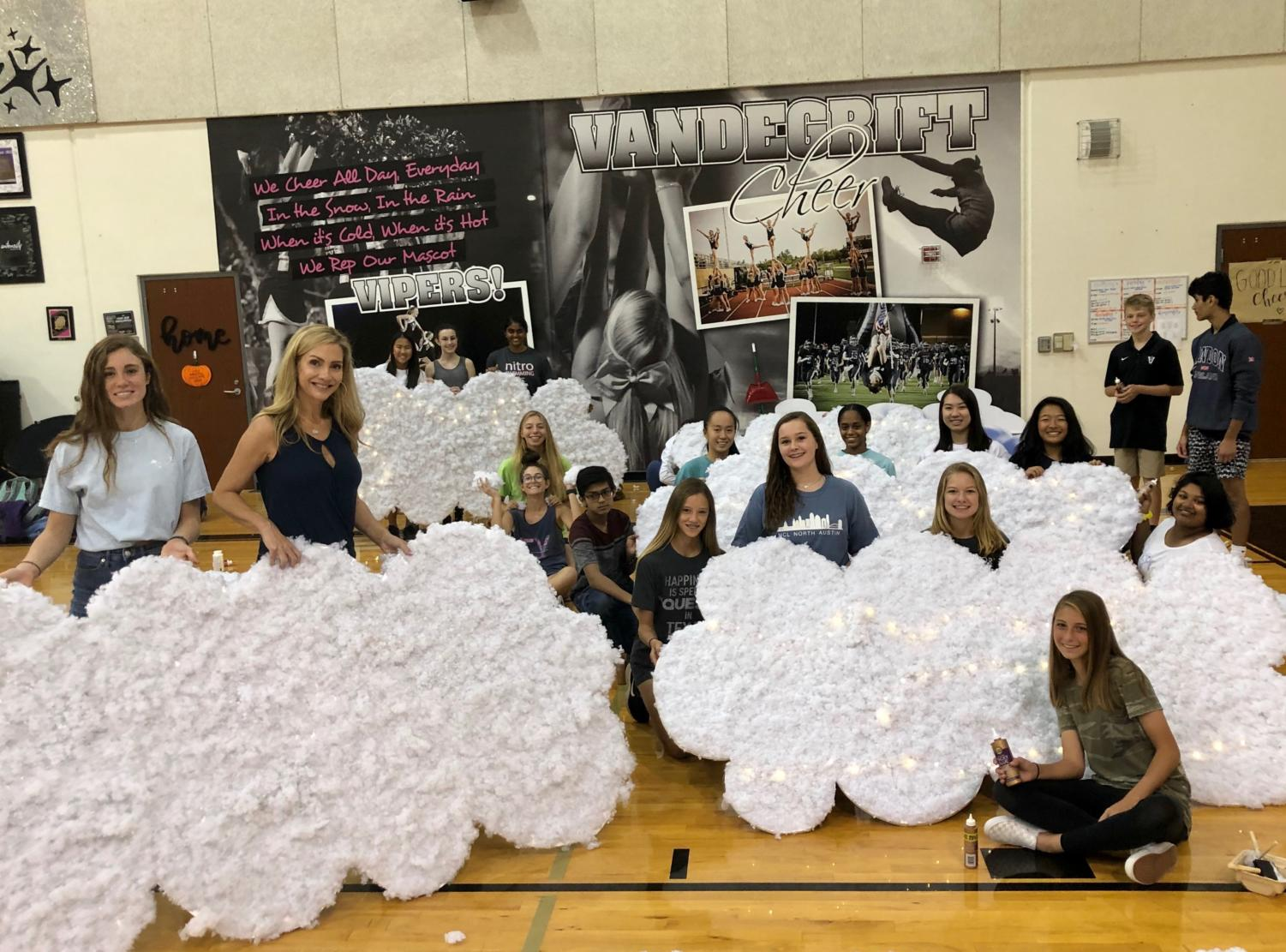 Students on the homecoming committee work on decorations for the homecoming dance.