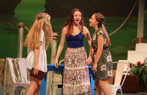 "Lawrence [middle] performing a musical number during opening night of ""Mamma Mia!"" alongside her cast mates."