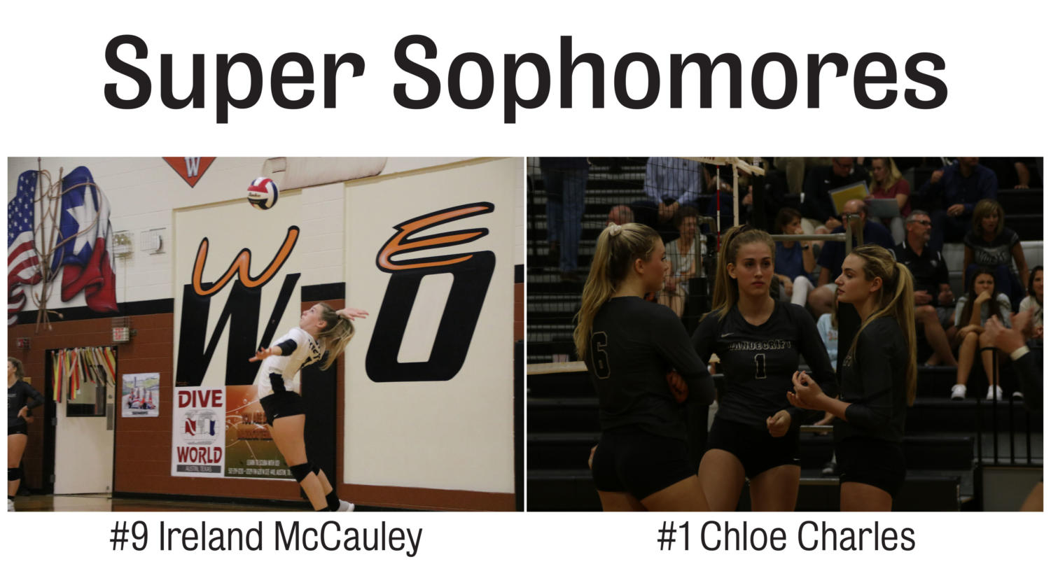 Sophomores Ireland McCauley and Chloe Charles both made the varsity volleyball team as sophomores.