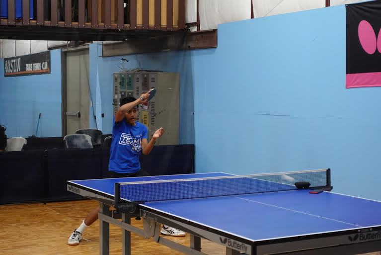 Sarthak practices Table Tennis