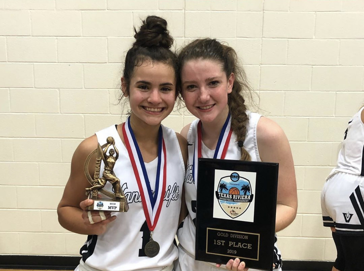 MVP's Kaya Pehrson and Skye O'rourke pose with their trophies