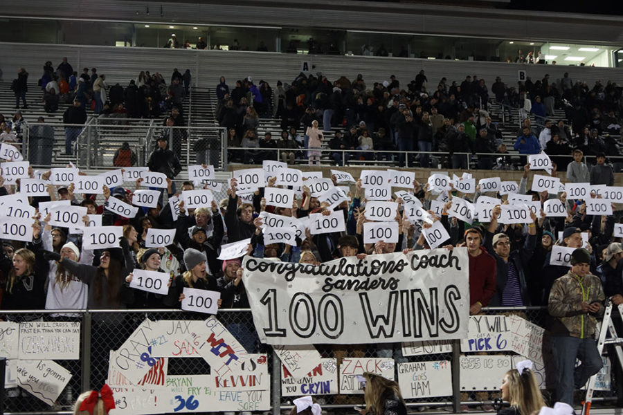 The student section celebrates Coach Drew Sander's 100th win at the end of the Stony Point game. Sanders and the Vipers look for his 101st win at the first playoff game tonight against Bridgeland.
