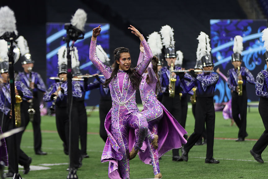 The Band and Vision Company performing during the Grand National semifinals.