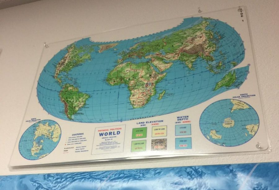 A+map+of+the+World+in+a+Vandegrift+history+classroom.