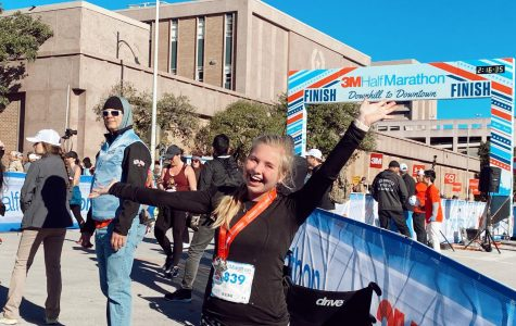 Kennedy Byrne at the 3M finish line. She ran the race in less than 2 hours.