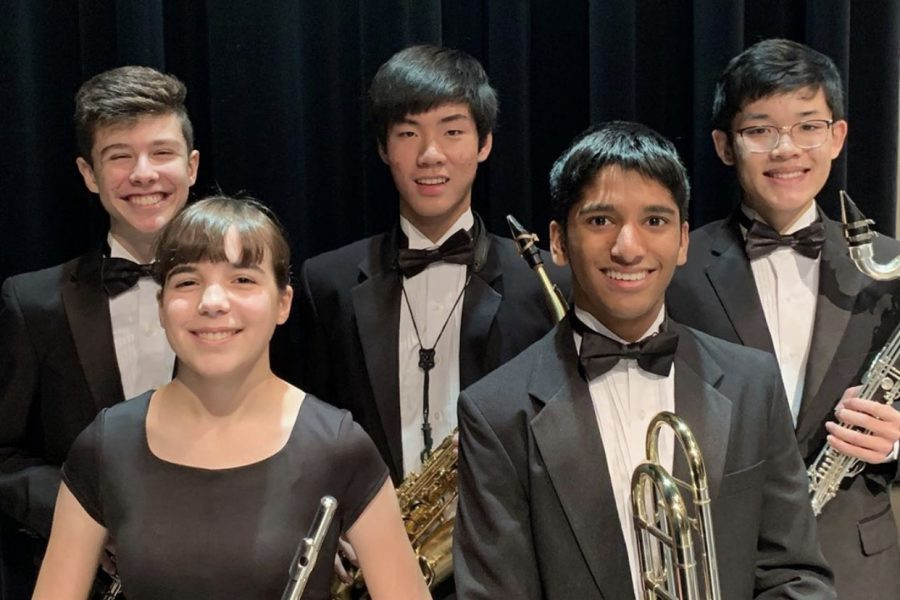 All-State students (from top to bottom, right to left): Ryan Hogarth, Inbo Shim, Nathan Cong, Sophie Wills and Amaan Syed pose with their instruments