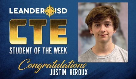 Justin Heroux is announced CTE student of the week for typing 100 words per minute.
