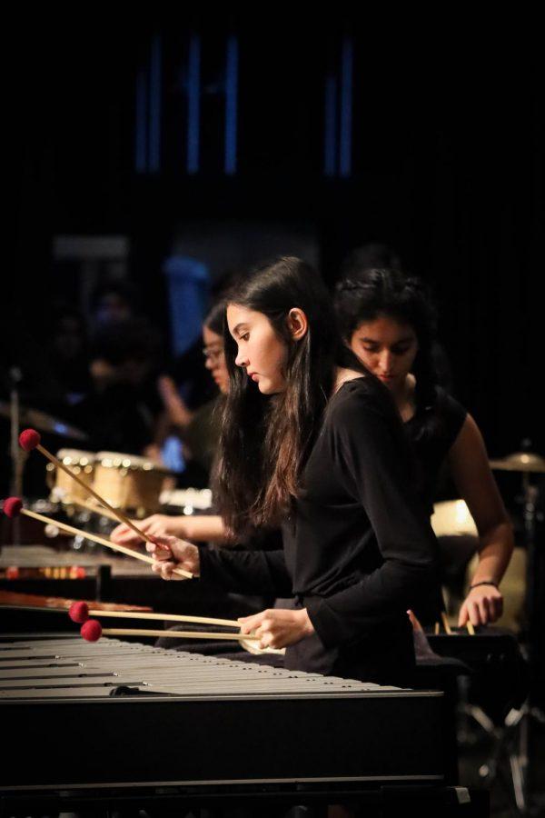 Junior Melissa Mckelvy preforms on the vibraphone in a Symphonic ensemble piece.