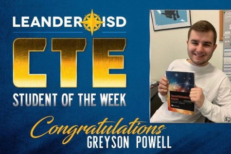 Senior Greyson Powell recently won the CTE Student of the Week award.
