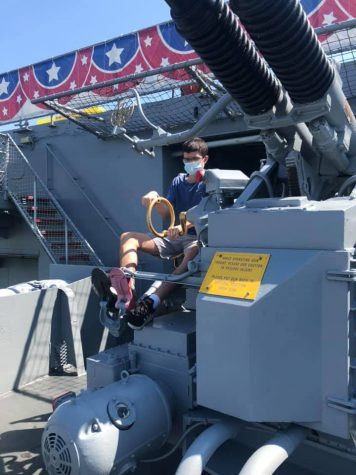 The author, Nicholas Scoggins, playing with one of the USS Lexington