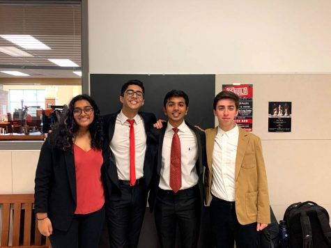 Graduate Zia Rashed pictured with with seniors Faiz Prasla, Nirron Miller and Tej Reddy