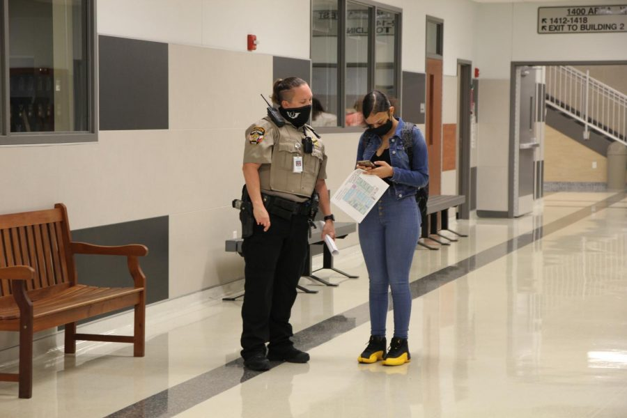 SRO Kimberley Richards helps student find her fifth period class