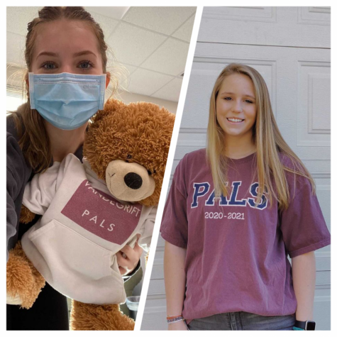 Both of the girls, Rachel Jensen and Maya Gabbi pose with a PAL teddy bear and t-shirt.